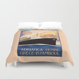 Venice Greece Istanbul shipping line retro vintage ad Duvet Cover