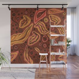 Doodle leaves and polka dots - oranges and pinks on brown Wall Mural