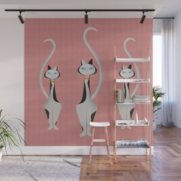Midcentury Modern Gray Calico Kitty Cat With Blue Eyes Wall Mural