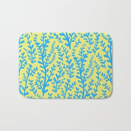 Yellow and Blue Floral Leaves Gouache Pattern Bath Mat
