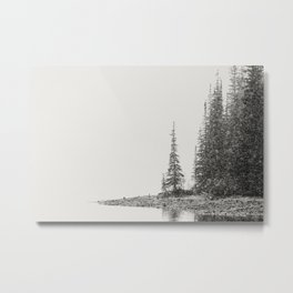 Snow Storm at the Mountain Lake - Moraine Lake Banff National Park Canada  Metal Print