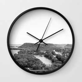 River Bluff Views in Minnesota Black and White Wall Clock