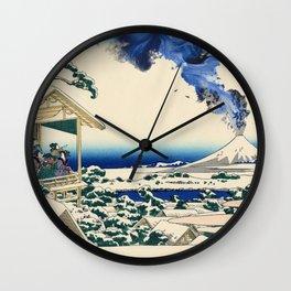 Hokusai View Of Mount Fuji Eruption Wall Clock