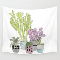 cactus Wall Tapestries featuring Cactus by Olivia James