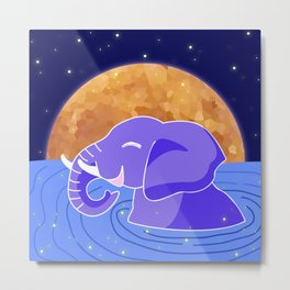 Love Planet Love Animals Elephant Chilling In Water Under Starry Night Full Moon Metal Print