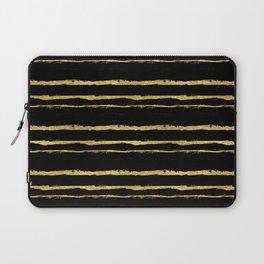 Golden Stripes on Black Background Laptop Sleeve