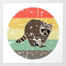 Retro Tee For Animal Lovers With A Cute Nice Illustration Of A Raccoon Forestry Animals Forester  Art Print