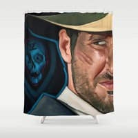 indiana jones Shower Curtains featuring Indiana Jones and the Phantom Dead by Brad Collins Art & Illustration
