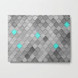 Cyan Tiles on monochromic background Metal Print
