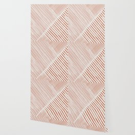 Blush Pink Stripes, Geometric Art Wallpaper