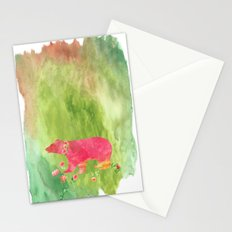 Bear  with flowers - Animal watercolor illustration Stationery Cards