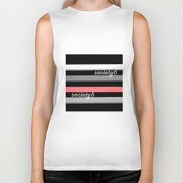 Colorful striped pattern in black and grey , white and pink colors . Society6 Biker Tank