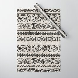Boho Tribal Black & Cream, Geometric Print, Ink Tribal Decor Wrapping Paper