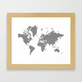 Minimalist World Map Gray on White Background Framed Art Print