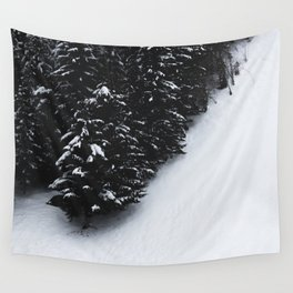 Black and white spruce forest and snow Wall Tapestry