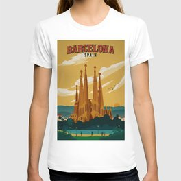 Vintage Barcelona, Spain Travel Lithographic Poster Advertisement T-shirt