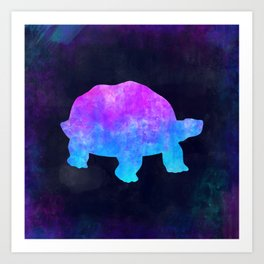 TORTOISE IN SPACE // Animal Graphic Art // Watercolor Canvas Painting // Modern Minimal Cute Art Print