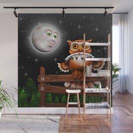 Surreal Owl and Moon Wall Mural