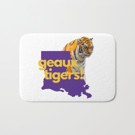 Louisiana State Map Geaux Tigers Purple Gifts Bath Mat