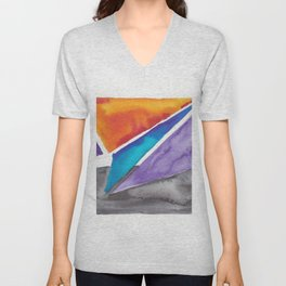 180819 Geometrical Watercolour 1| Colorful Abstract | Modern Watercolor Art Unisex V-Neck