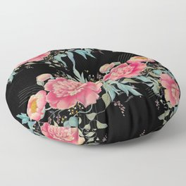 Gipsy paeonia in black Floor Pillow