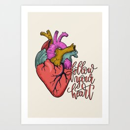 FOLLOW YOUR HEART - tatoo artwork Art Print