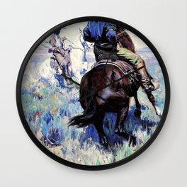Across the Intervening Desert the Eyes of the Two Men Met in Grim Defiance - William Herbert Dunton Wall Clock