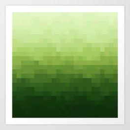 Gradient Pixel Green Art Print