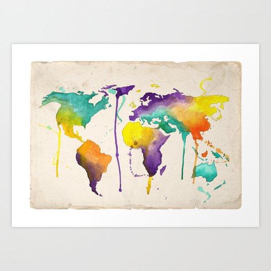 World Splash Art Print