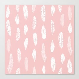 Feather pink and white minimal feathers pattern nursery gender neutral boho decor Canvas Print