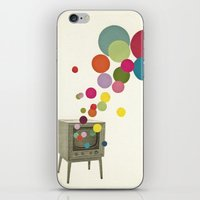 tv iPhone & iPod Skins featuring Colour Television by Cassia Beck