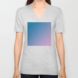 Blue and Soft Light Pink Magenta Gradient Ombré Abstract Unisex V-Neck