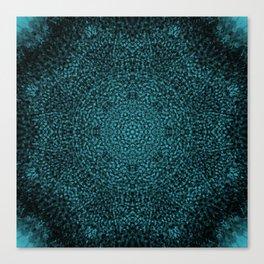 Blue Sunflower Mandala Canvas Print