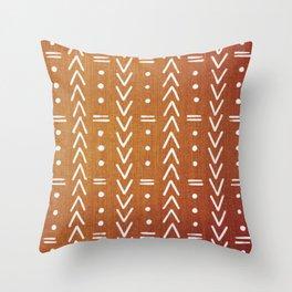 Mudcloth White Geometric Shapes in Ochre Burnt Orange Throw Pillow