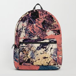 Brilliance: vibrant, colorful and textured in purple, gold, pink, blue, and white Backpack