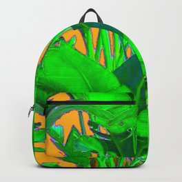 BRIGHT GREEN & GOLD TROPICAL FOLIAGE ART Backpack