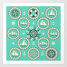Blue Nautical Print with ships, compass, anchor and nautical knots Art Print