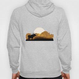 Romantic moose is watching sunset Hoody