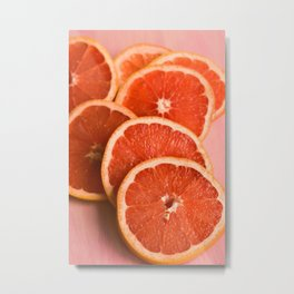 Grapefruit on Pink Metal Print