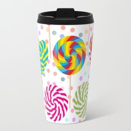 lollipops pattern, colorful spiral candy cane with twisted design Travel Mug