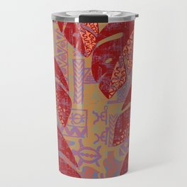 Hawaiian Lava Leaves Tapa Print Travel Mug