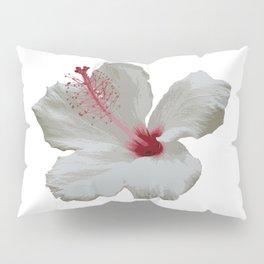 Pure White Hibiscus Tropical Flower Pillow Sham