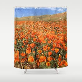 Golden Poppies in My Dreams Shower Curtain