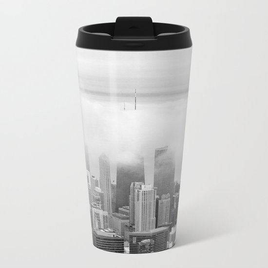 Black and White Chicago Illinois Metal Travel Mug