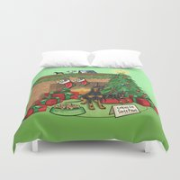 manchester Duvet Covers featuring Manchester Terrier Christmas by DogWorks by Molly Yang