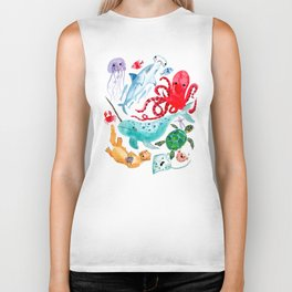Ocean Creatures - Sea Animals Characters - Watercolor Biker Tank