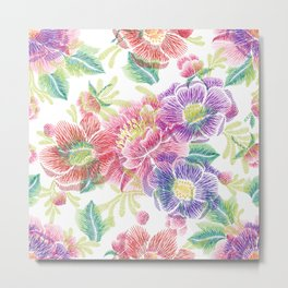 Colorful lowers Collage Pattern Metal Print