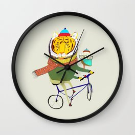 Tiger and Owl biking. Wall Clock