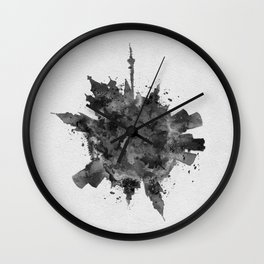 Moscow, Russia Black and White Skyround / Skyline Watercolor Painting Wall Clock