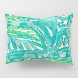 Turquoise & Lime Leaves Pillow Sham
